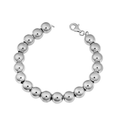 Sterling Silver 10mm Polished Ball Bracelet, 8""