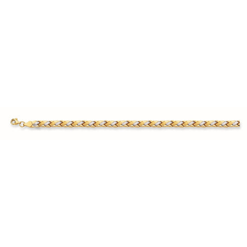 14k Yellow And White Gold Weaved Links Bracelet, 7,25""