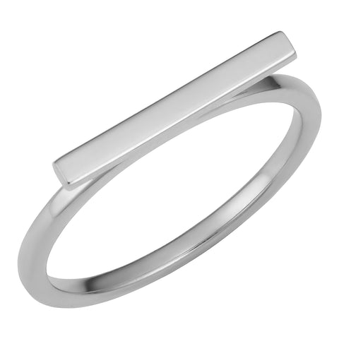 14k White Gold 2mm Horizontal Bar Ring