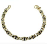 14k Yellow And White Gold Oval Mariner Link Mens Bracelet, 8.5""