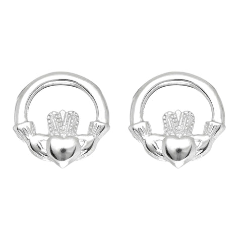 Sterling Silver Round Claddagh Stud Earrings