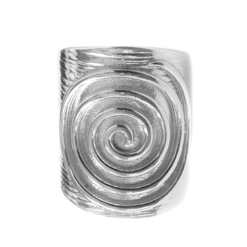 Greek Spira Eternity Pattern Adjustable Ring In Sterling Silver
