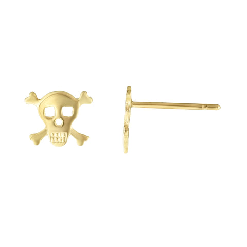 14k Yellow Gold Pirate Scull Stud Earrings