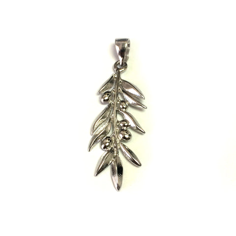 Sterling Silver Rhodium Plated Olive Brunch Pendant