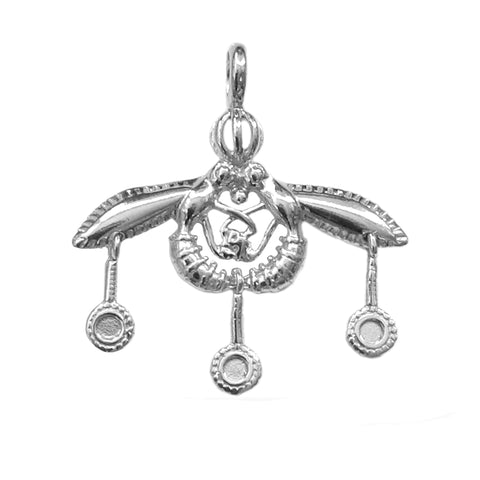 Greek Ancient Minoan Bees Pendant In Sterling Silver Pendant - 30mm - JewelryAffairs  - 1