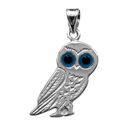 Evil Eye Owl Pendant In Sterling Silver, 10 x 30 mm - JewelryAffairs  - 1