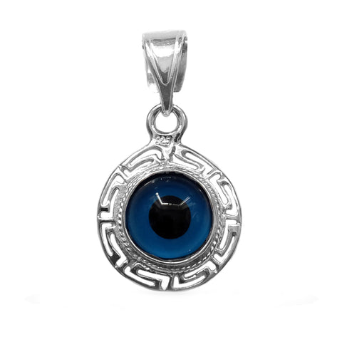 Sterling Silver Greek Key Double Sided Evil Eye Pendant Charm