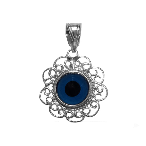 Sterling Silver Filigree Double Sided Evil Eye Pendant Charm