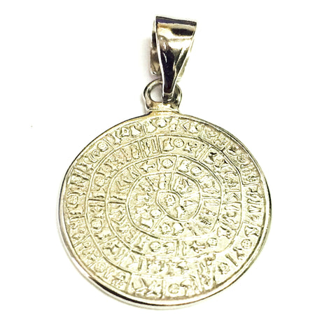 Sterling Silver Greek Phaistos Disc Charm Pendant, 20mm