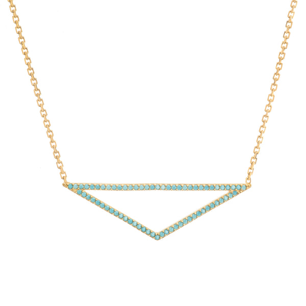 "14K Yellow Gold Triangle Pendant Necklace, 16"" To 18"" Adjustable"