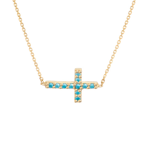 "14K Yellow Gold Cross Pendant Necklace, 16"" To 18"" Adjustable"