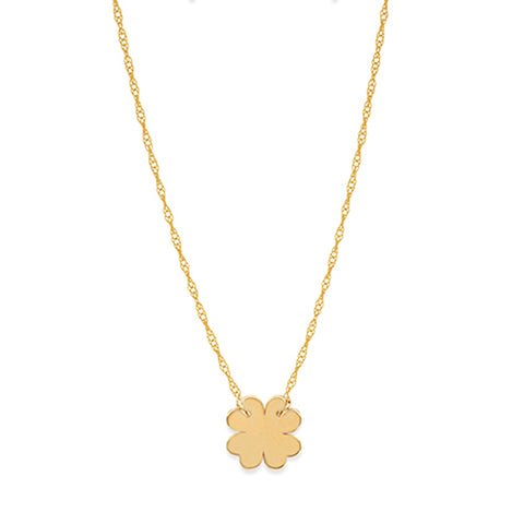 "14K Yellow Gold Mini Clover Pendant Necklace, 16"" To 18"" Adjustable"