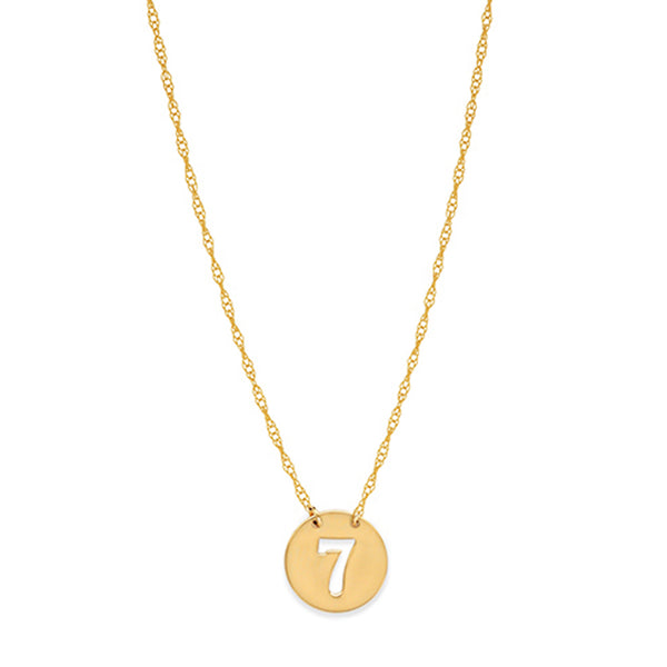 "14K Yellow Gold Mini Lucky Number Seven Necklace, 16"" To 18"" Adjustable"