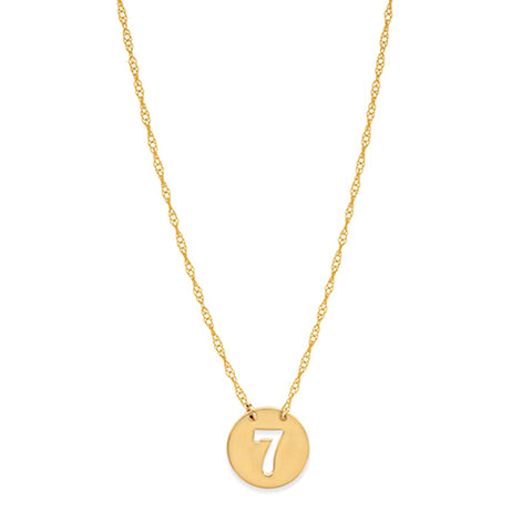 14K Yellow Gold Mini Lucky Number Seven Pendant Necklace, 16 To 18 Inches Adjustable