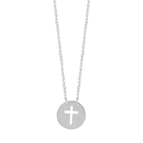 14K White Gold Mini Cross Pendant Necklace, 16 To 18 Inches Adjustable