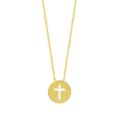 14K Yellow Gold Mini Cross Pendant Necklace, 16 To 18 Inches Adjustable
