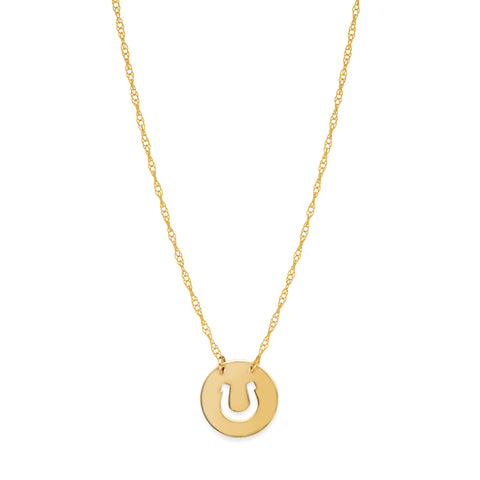 14K Yellow Gold Mini Horse Shoe Pendant Necklace, 16 To 18 Inches Adjustable