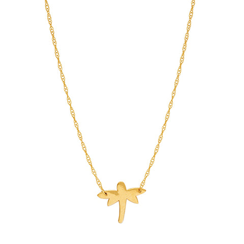14K Yellow Gold Mini Dragonfly Pendant Necklace, 16 To 18 Inches Adjustable