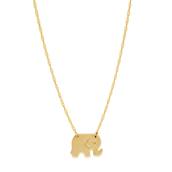 "14K Yellow Gold Mini Baby Elephant Pendant Necklace, 16"" To 18"" Adjustable"