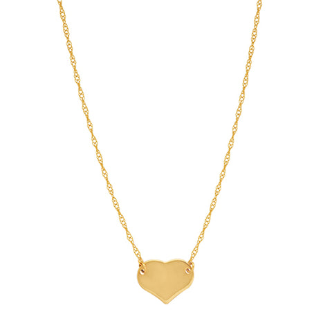 "14K Yellow Gold Mini Heart Pendant Necklace, 16"" To 18"" Adjustable"