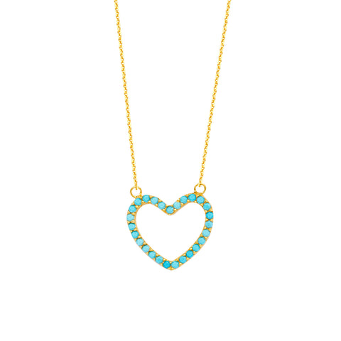 "14K Yellow Gold Heart Pendant Necklace, 16"" To 18"" Adjustable"