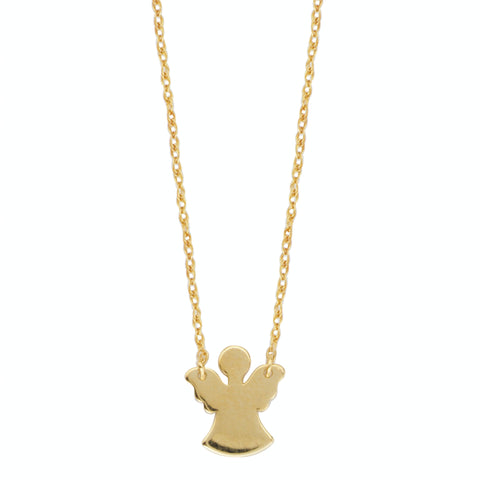 "14K Yellow Gold Mini Angel Pendant Necklace, 16"" To 18"" Adjustable"