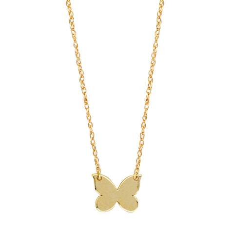 "14K Yellow Gold Mini Butterfly Pendant Necklace, 16"" To 18"" Adjustable"