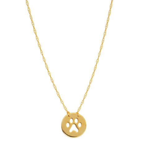 "14K Yellow Gold Mini Paw Print Pendant Necklace, 16"" To 18"" Adjustable"