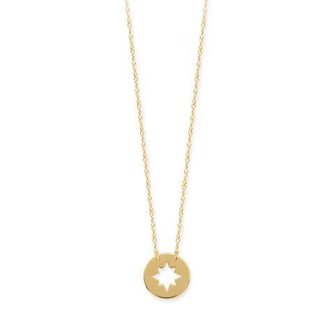 "14K Yellow Gold Mini Northern Star Pendant Necklace, 16"" To 18"" Adjustable"