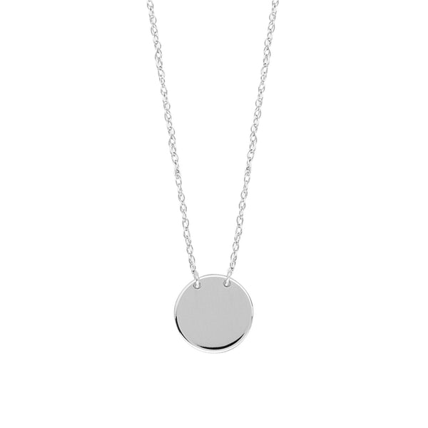 "14K White Gold Mini Engravable Disk Pendant Necklace, 16"" To 18"" Adjustable"