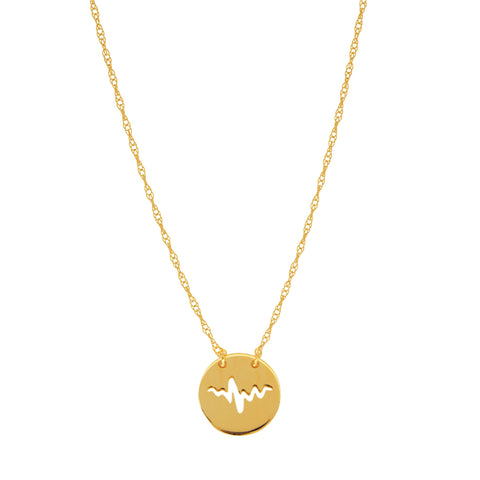 14K Yellow Gold Mini Heartbeat Pendant Necklace, 16 To 18 Inches Adjustable