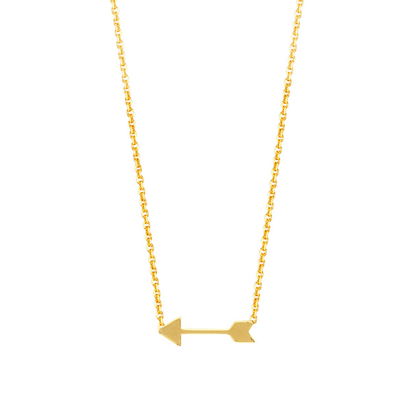 "14K Yellow Gold Mini Arrow Pendant Necklace, 16"" To 18"" Adjustable"