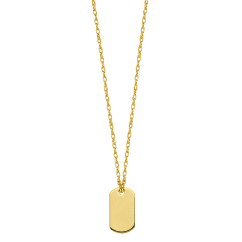 14K Yellow Gold Mini Engravable Dog Tag Pendant Necklace, 16 To 18 Inches Adjustable