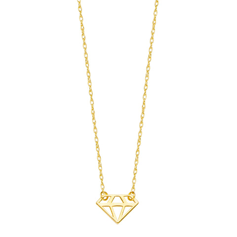 14K Yellow Gold Mini Cut Out Diamond Figure Pendant Necklace, 16 To 18 Inches Adjustable