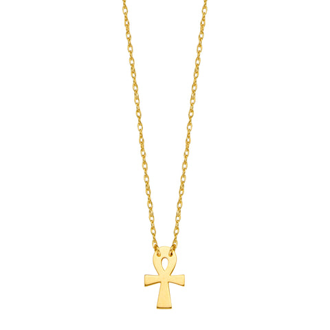 "14K Yellow Gold Mini Ankh Cross Pendant Necklace, 16"" To 18"" Adjustable"