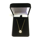 "14K Yellow Gold Love Smiley Face Pendant Necklace, 16"" To 18"" Adjustable"