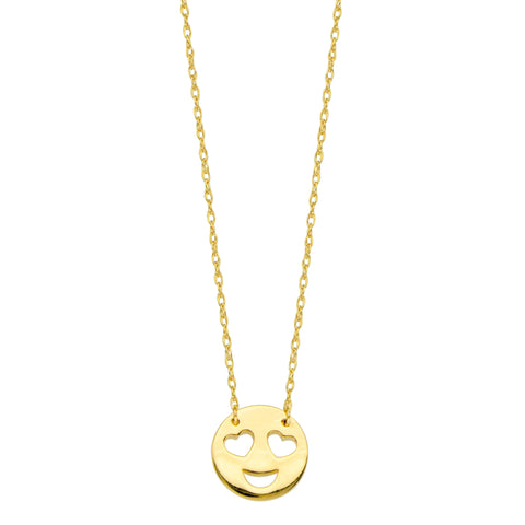 14K Yellow Gold Mini Love Smiley Face Pendant Necklace, 16 To 18 Inches Adjustable