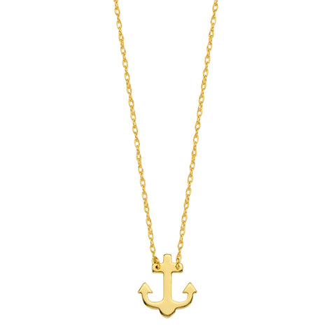 "14K Yellow Gold Mini Anchor Pendant Necklace, 16"" To 18"" Adjustable"