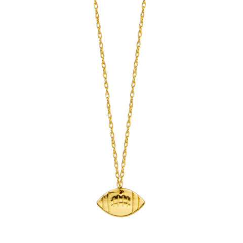 14K Yellow Gold Mini Football Necklace, 16 To 18 Inches Adjustable