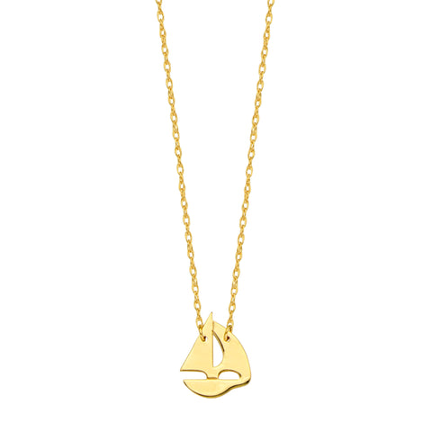 14K Yellow Gold Mini Sailing Boat Pendant Necklace, 16 To 18 Inches Adjustable