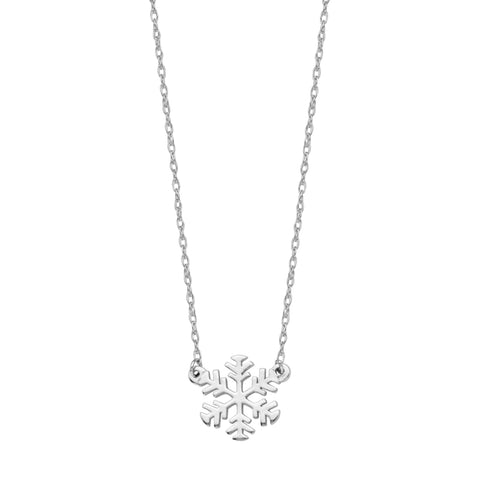 "14K White Gold Mini Snowflake Pendant Necklace, 16"" To 18"" Adjustable"