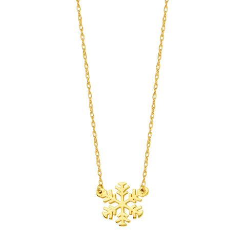 "14K Yellow Gold Mini Snowflake Pendant Necklace, 16"" To 18"" Adjustable"