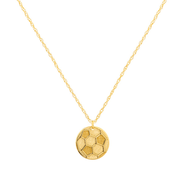 "14K Yellow Gold Mini Soccer Ball Pendant Necklace, 16"" To 18"" Adjustable"