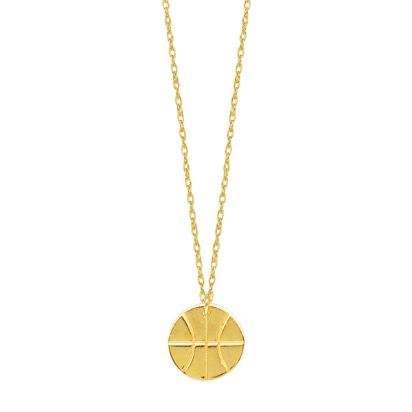 "14K Yellow Gold Mini Basketball Pendant Necklace, 16"" To 18"" Adjustable"