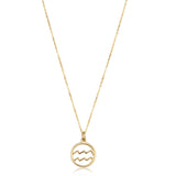 14k Yellow Gold Aquarius Zodiac Pendant Necklace, 18""