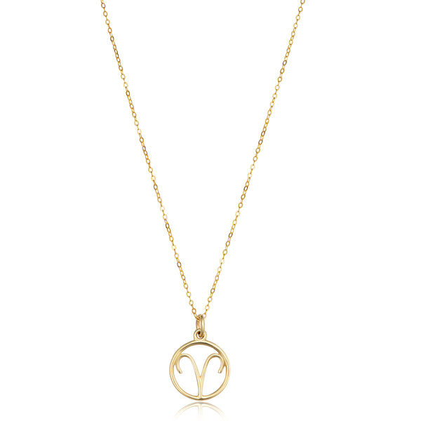 14k Yellow Gold Aries Zodiac Pendant Necklace, 18""