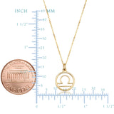 14k Yellow Gold Libra Zodiac Pendant Necklace, 18""
