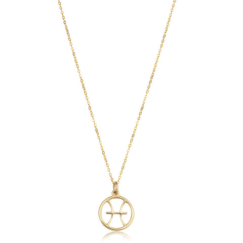14k Yellow Gold Pisces Zodiac Pendant Necklace, 18""