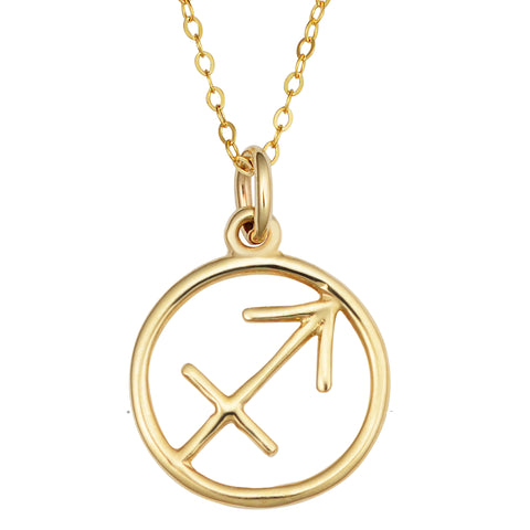 14k Yellow Gold Sagittarius Zodiac Pendant Necklace, 18""