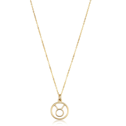 14k Yellow Gold Taurus Zodiac Pendant Necklace, 18""